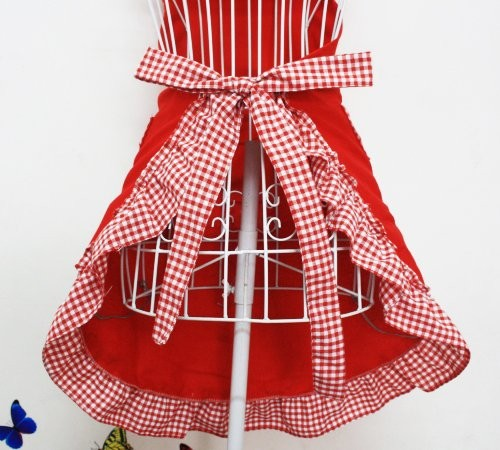 Red Gingham Retro Apron With Bows Apronshop Co Uk