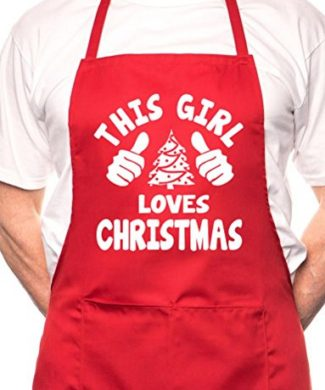 """This Girl Loves Christmas"" Christmas Apron - Various Colour Available"