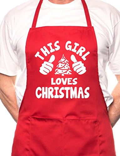 """""""This Girl Loves Christmas"""" Christmas Apron - Various Colour Available"""